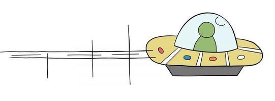 Cartoon Vector Illustration of Flying Ufo