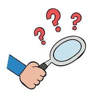 Cartoon Vector Illustration of Hand Holding Magnifying Glass and Question Marks Examine