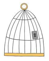 Cartoon Vector Illustration of Bird Cage