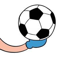 ilustración vectorial de dibujos animados de portero sostiene el balón de fútbol vector