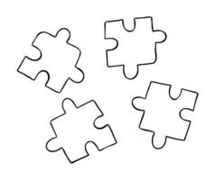 Cartoon Vector Illustration of Compatible 4 Puzzle Pieces in Different Colors