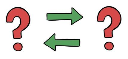 ilustración vectorial de dibujos animados de dos signos de interrogación e intercambio vector