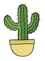 Cartoon Vector Illustration of Cactus in Pot