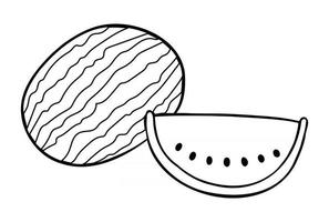 Cartoon Vector Illustration of Whole Watermelon and Watermelon Slice