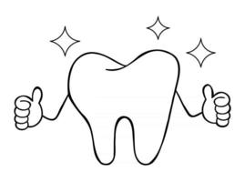 Cartoon Vector Illustration of White Tooth Mascot Character Give Thumbs Up