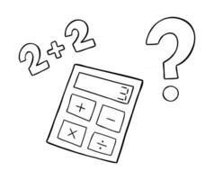 Cartoon Vector Illustration of Calculator Wrong Math and Question Mark