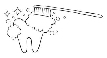 Cartoon Vector Illustration of Brushing Teeth