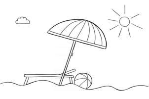 Cartoon Vector Illustration of Beach Umbrella Beach Sunny Weather Sunbed and Sea Ball