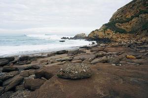 Beach landscape in the coast in Bilbao Spain photo