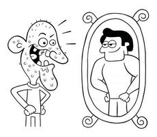 Cartoon Ugly Man Looks in the Mirror and Thinks He is So Handsome Vector Illustration