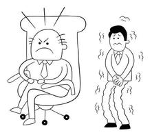 Cartoon Angry Boss Man Sitting in His Chair and Scared Worker Waiting Behind Him Vector Illustration