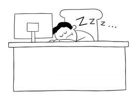 hombre de negocios de dibujos animados durmiendo en el escritorio en la ilustración de vector de oficina