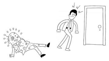 Cartoon Angry Employee Man Beat the Boss and Leaves Vector Illustration