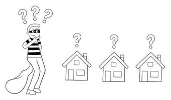 Cartoon Thief Man Thinks Which House to Rob Vector Illustration