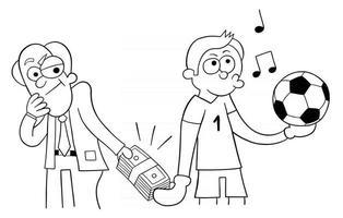 hombre de dibujos animados ofrece sobornar al portero para marcar una ilustración de vector de gol