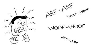 Cartoon Man Very Afraid of Dog Barking Vector Illustration