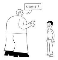 Cartoon Very Big Kind Man Apologizes on Weak Man Vector Illustration