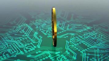 Monero criptomoeda spinning animação placa de circuito azul video