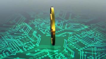 dogecoin criptomoeda spinning animação placa de circuito verde video