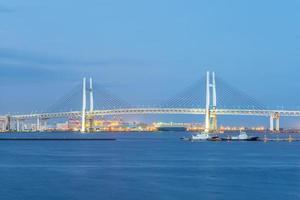 Yokohama Bay Bridge in Japan at dusk photo
