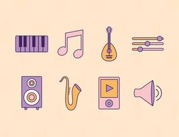 set of music icons on a yellow background vector