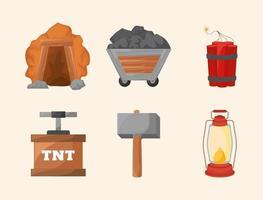 six mining icons vector