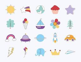 veinte iconos de doodle vector