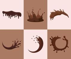 liquid chocolate set vector