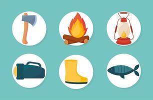 six camping designs vector