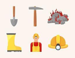 six mining items vector