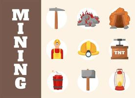 mining industry icons vector