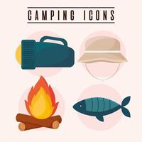 four camping icons vector