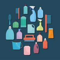bundle of household icons on a blue background vector