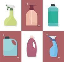 bundle of household icons on squares vector