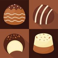 four sweet chocolates vector