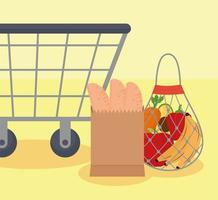 bags and cart vector