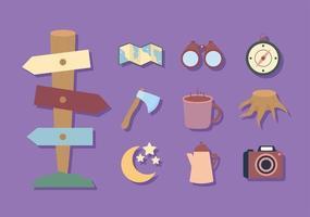 camping bundle icon vector
