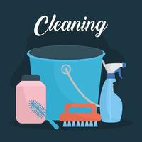 cleaning lettering and set of household icons vector