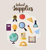 cartel de suplementos escolares sobre fondo beige vector