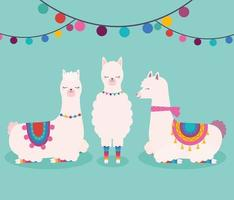 three sweet llamas vector