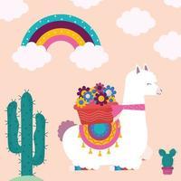 llama and flowers vector