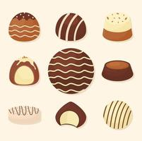 nine sweet chocolates vector