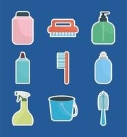 set of household icons on a blue background vector