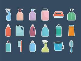 set of household icons on a dark blue background vector