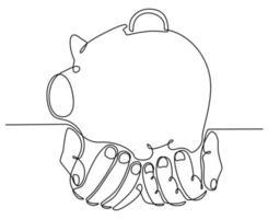 dibujo de línea continua de una mano con una ilustración de vector de alcancía