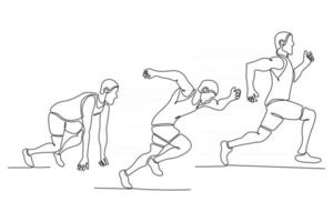 drawing of continuous line style sprinting style vector illustration