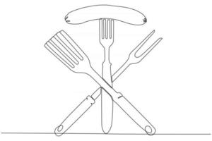 Continuous line drawing of sausage with fork at bbq party vector illustration
