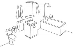 Continuous line drawing of bathroom set vector illustration