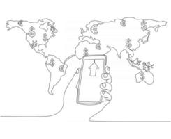 continuous line drawing of global money transfer concept with entrepreneur vector illustration