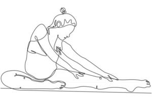 continuous line drawing of yoga pregnancy meditation vector illustration